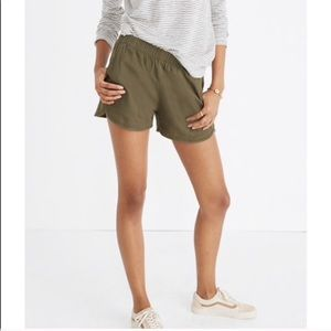 Madewell Green Cotton Pull On Shorts